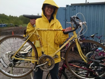 Western Lake Superior Sanitary District Materials Recovery Center, Duluth, Minn. Jen found her old bike at the Duluth dump in June. Officials monitor materials discarded at the dump. If an item is deemed salvageable it is set aside and offered to others for free. Jen didn't keep the bike. Instead, we took home a green couch for our living room.